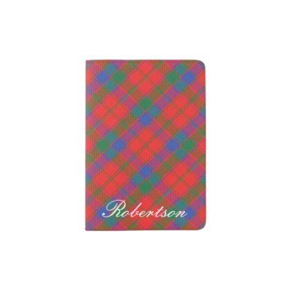 #World Traveler Clan Robertson Tartan Plaid Passport Holder - #travel #trip #journey #tour #voyage #vacationtrip #vaction #traveling #travelling #gifts #giftideas #idea