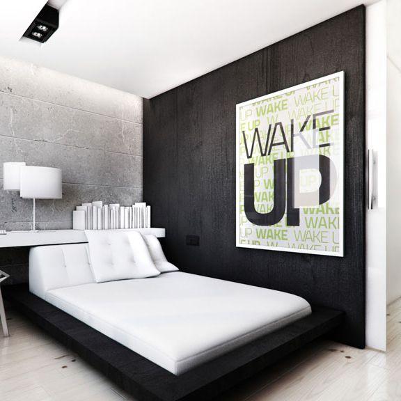 White - black bedroom design, POLAND - archi group. Sypialnia w mieszkaniu.