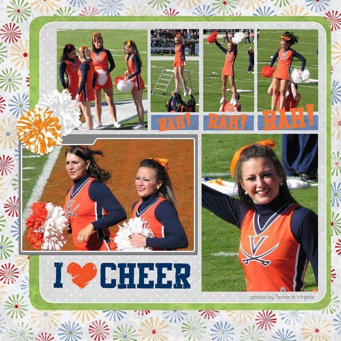 Cheerleading Digital Scrapbooking Kit - Cheer and Pom