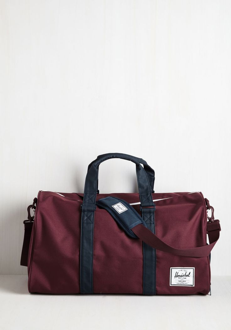 Pack in Action Weekend Bag. After a stint of focusing on your studies, youre jumping back into traveling with this burgundy duffle by Herschel Supply Co. #red #modcloth