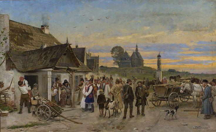 """Antoni Kozakiewicz, """"Przed karczmą - Wesele"""",  II poł. XIX w."""
