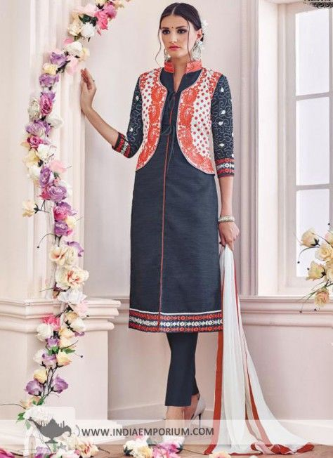 Gray Chanderi & Cotton Pant Suit with Mandarin Collar
