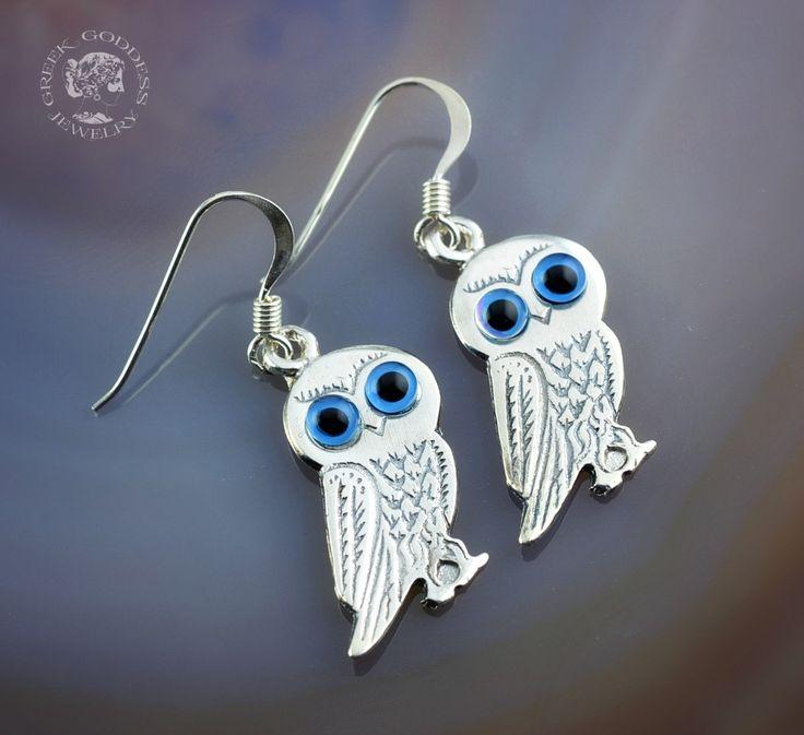 owls silver earrings, owls earrings, owl earrings, greek earrings, greek jewelry, Athena earrings, goddess jewelry, goddess earrings, greek by GreekGoddessJewelry on Etsy