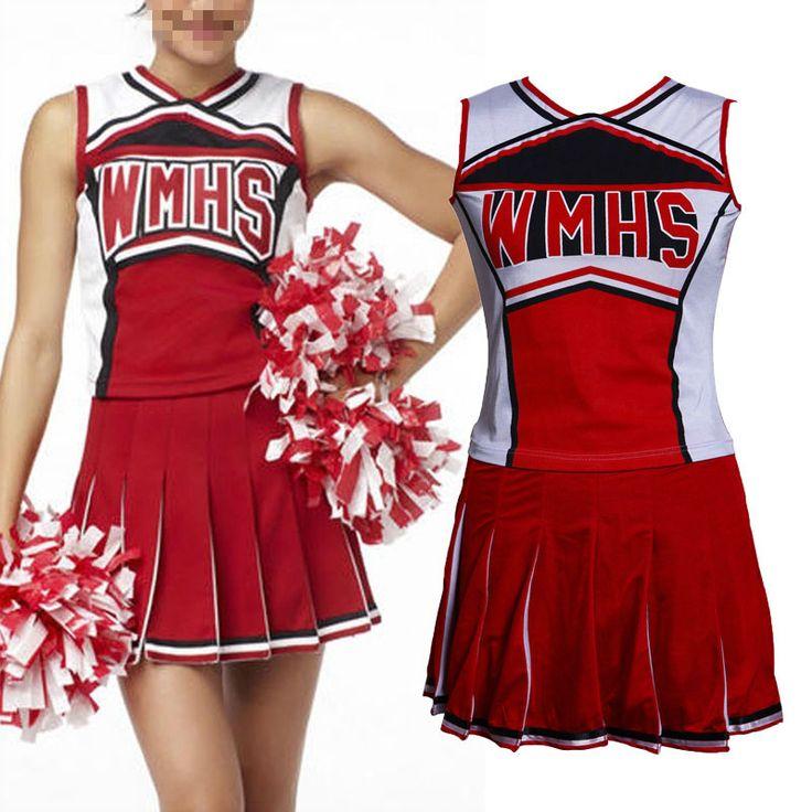 Women Cheerleader Fancy Dress Uniform High School Glee Dress. Color : Red. Size : S / M / L. | eBay!
