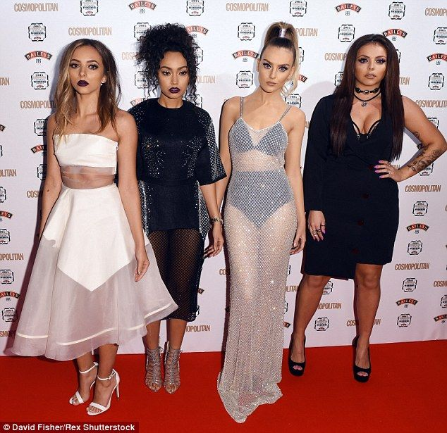 All dolled up: Jade Thirlwall, Leigh-Anne Pinnock, Perrie Edwards and Jesy Nelson refused to smile as they hit the red carpet with conviction