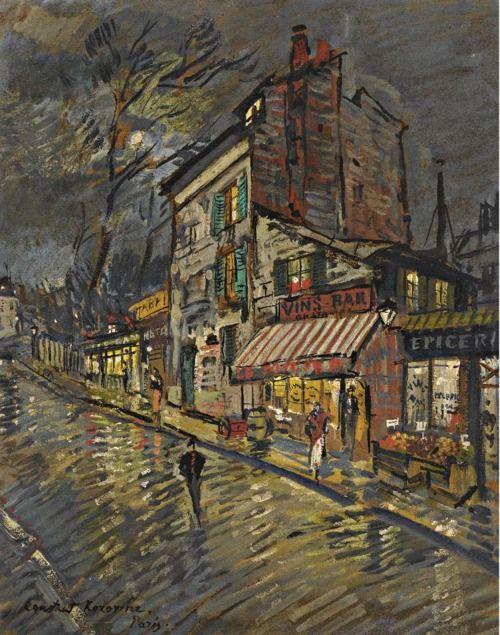 Paris by Night by Konstantin Alekseyevich Korovin (b. Константи́н Алексе́евич Коро́вин, first name often spelled Constantin; November 23 [O.S. December 5] 1861; Moscow, Russian Empire – d. September 11, 1939; Paris, France) Oil and gouache on cardboard, 16 × 13 in. (40.64 × 33.02 cm) Signed http://www.mutualart.com/Artwork/Paris-by-Night/734B92DB7AF75485 https://en.wikipedia.org/wiki/Konstantin_Korovin