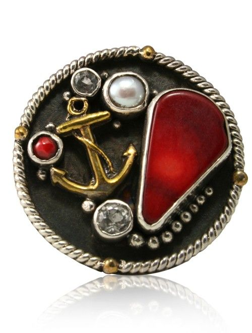 caracol inspired jewelry and handbags mars and valentine red coral brass anchor - Mars And Valentine
