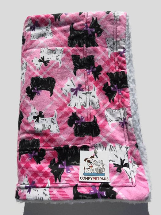 Scottie Dog Blanket, Crate Bedding, Pink Pet Blanket, Couch Throw, Scottish Terrier Fabric, Scottie Gifts, Puppy Bedding, Wheelchair Throw by ComfyPetPads on Etsy