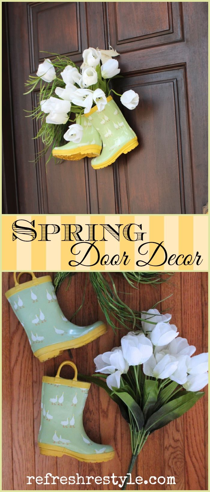 Drop the ordinary wreath for your door and add these cute Rain Boots #Refreshrestyle home decor spring