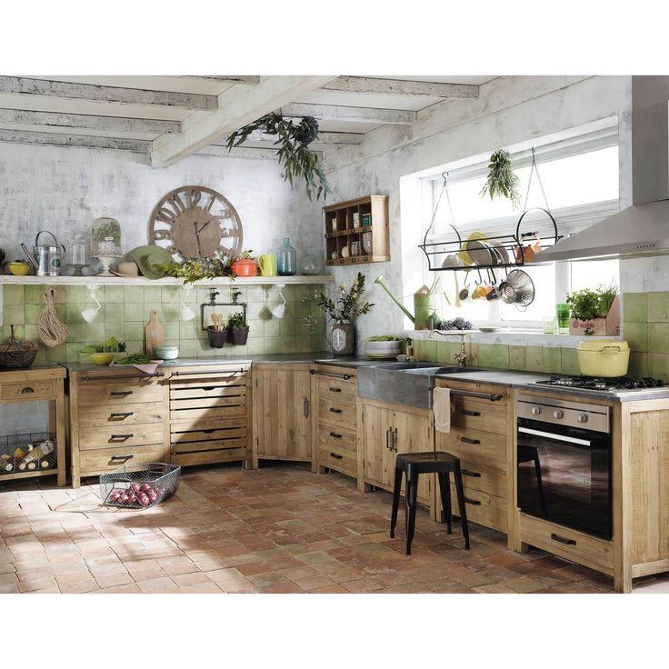 Meuble bas de cuisine avec évier en bois recyclé L 90 cm PAGNOL