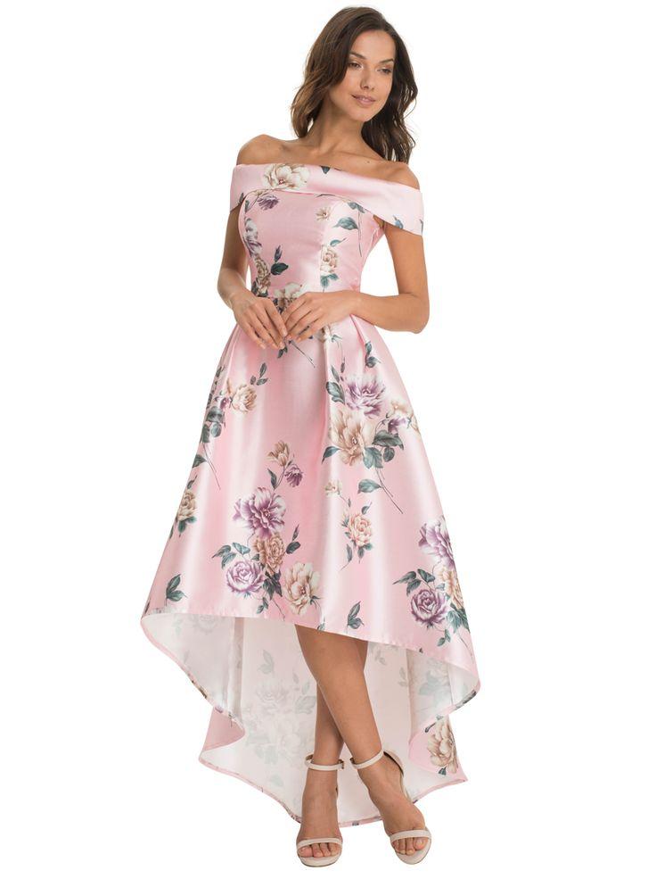 Satynowa sukienka na studniówkę i wesele różowa