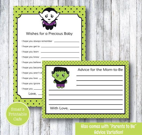 Halloween Baby Shower Wishes Cards   Printable Baby Shower Advice Cards    Printable Baby Shower Games   Monster Baby Shower   Frankenstein