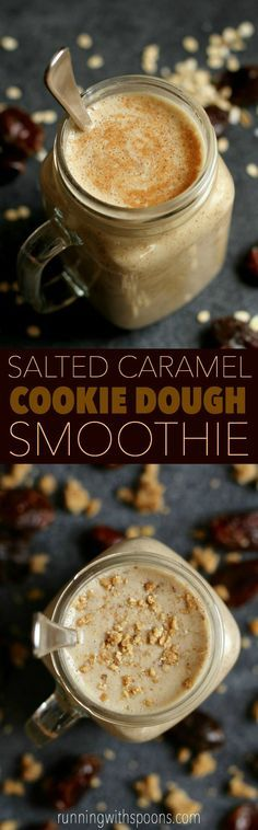 Salted Caramel Cookie Dough Smoothie -- cool, creamy, and ridiculously comforting. You'll never believe that it's actually healthy! || http://runningwithspoons.com /search/?q=%23cookiedough&rs=hashtag /explore/smoothie/ /search/?q=%23vegan&rs=hashtag