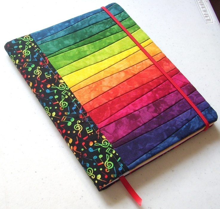 Hand Dyed Fabric Journal Cover, BRIGHT NOTES, Pieced and Quilted, Musical Backing Fabric
