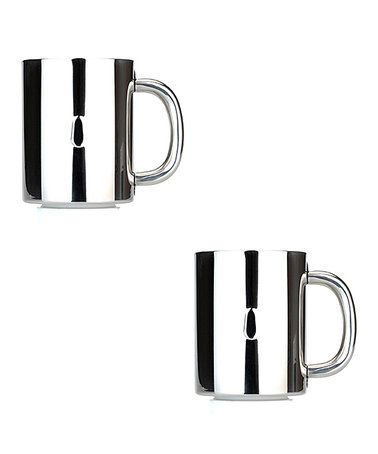 Another great find on #zulily! Silver Stripe Stainless Steel Coffee Mug Set #zulilyfinds