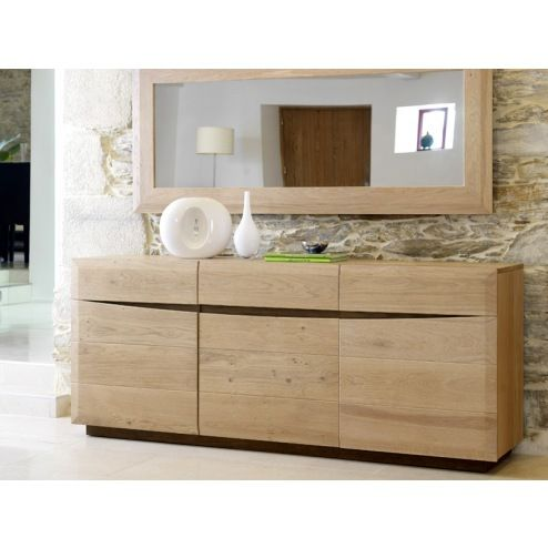 meuble buffet 3 portes en bois massif contemporain. Black Bedroom Furniture Sets. Home Design Ideas