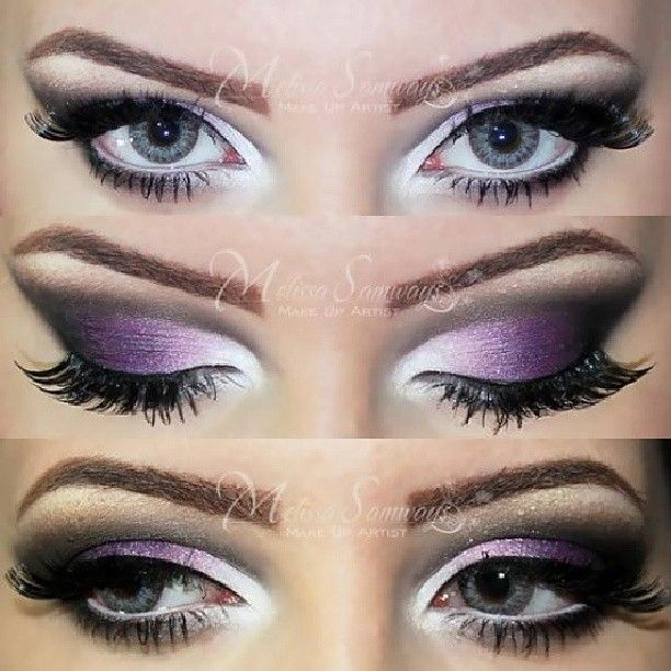 @makeupbymels | Tutorial: http://www.youtube.com/watch?v=2bQ1MfPUL90 white & purple with black cut crease
