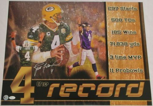 BRETT FAVRE GREEN BAY PACKERS SIGNED POSTER 4 THE RECORD 24X18 FAVRE  JSA COA * Click image for more details. (Note:Amazon affiliate link)