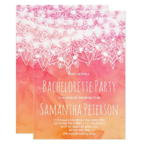 Pink watercolor mandala string lights bachelorette card