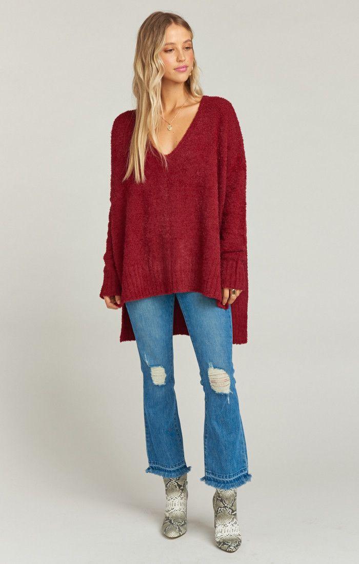 Hug Me Oversized Sweater ~ Majestic Maroon  004ea4301