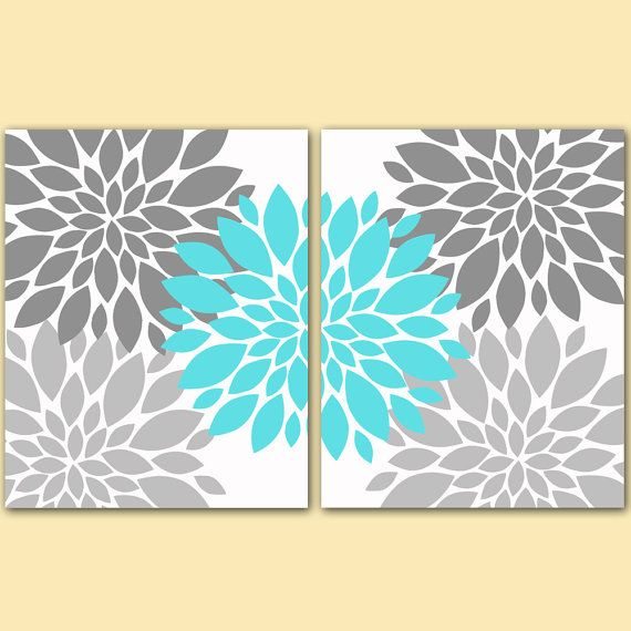 "Flower Bursts Botanical Printable Art 2 -8"" x 10"" // Grey and Tiffany Blue // Digital Fine Art Modern Wall Art Set Prints Home Decor (108) on Etsy, $10.00"