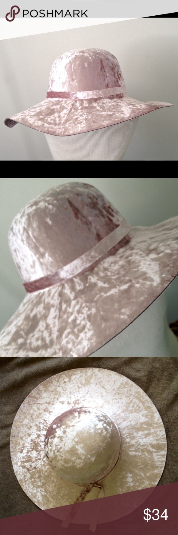 Lightweight velvet 4 inch floppy hat, adjustable One size fits all 4 inch velvet floppy with adjustable drawstring.  Very soft blush pink.  Amazing hat for all seasons. Accessories Hats