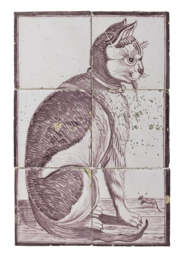 One of a panel of six tin-glazed earthenware tiles depicting a seated cat with a mouse in its mouth: Dutch, Rotterdam, late 18th - early 19th century