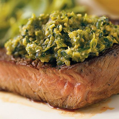 Grilled Sirloin Steak with Asparagus Tapenade