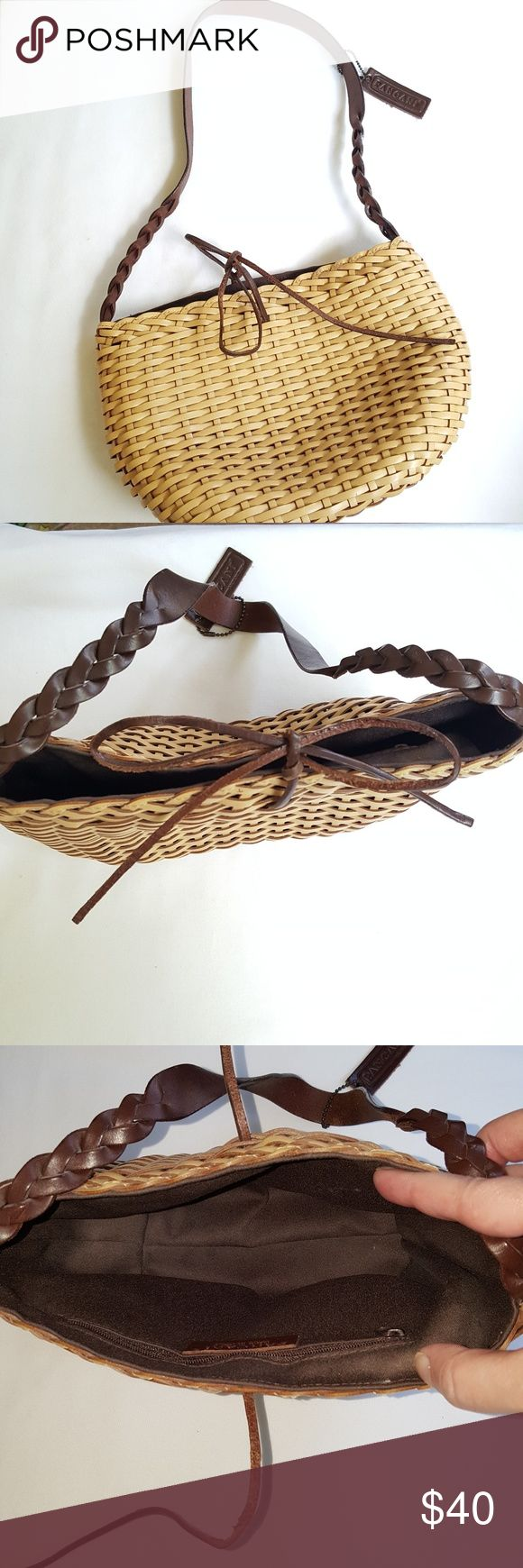 Pancani || Woven leather Mini Shoulder bBag Wheat color. Brown leather half braided straps. Brown leather tie to close. One zip pocket inside. Clean. Never used. Made in Italy. Pancani Bags Shoulder Bags
