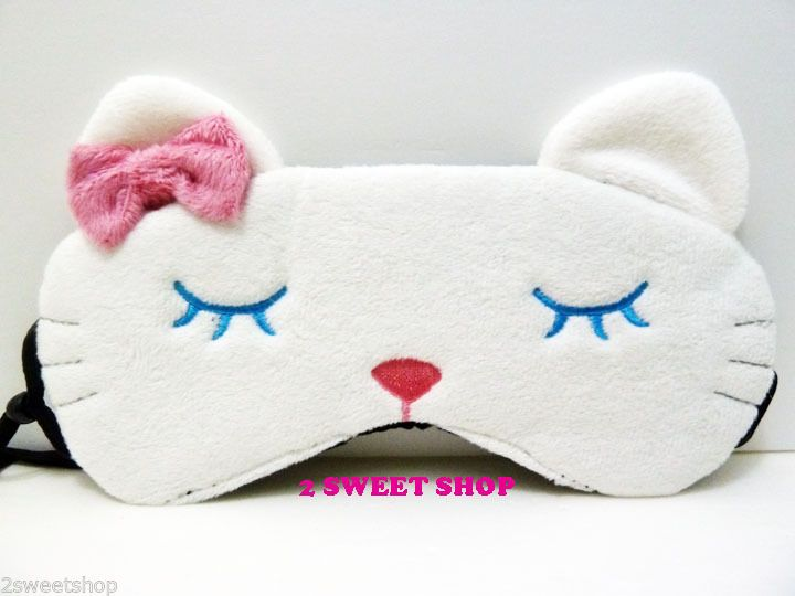 Japan Harajuku Tokyo Cute Kawaii Sleepy White Kitty Cat Travel Sleep Eye Mask | eBay
