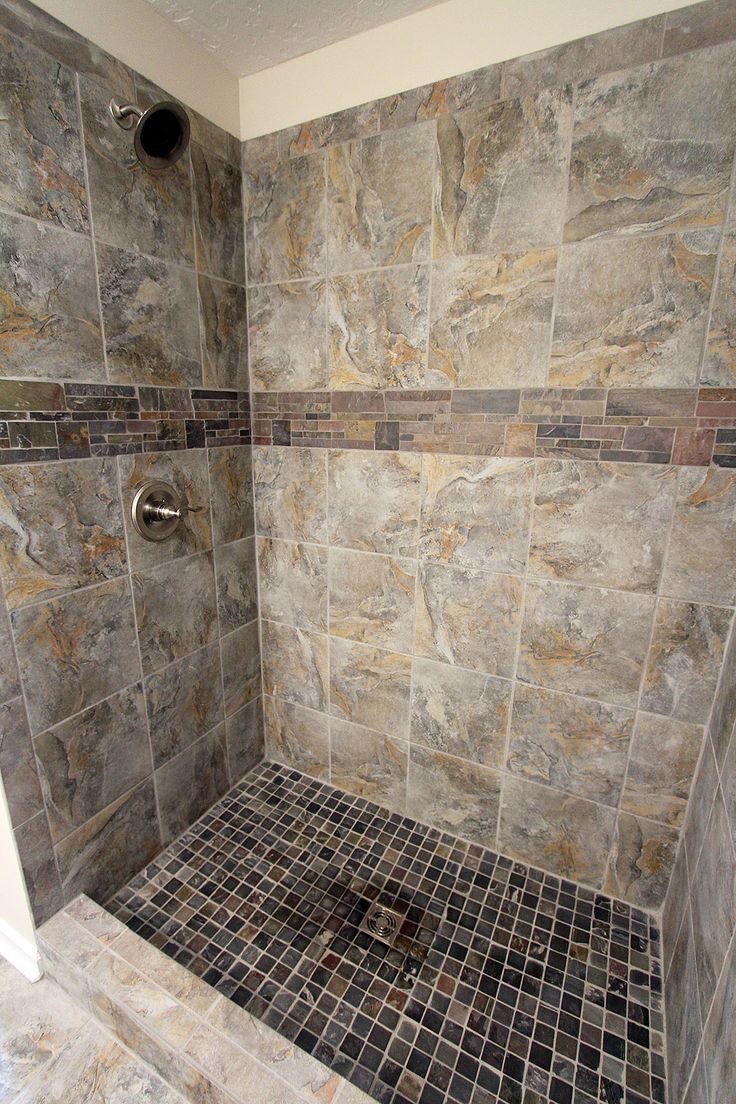 Romina Gray tile shower  Customer Jobs in 2019  Gray shower tile Grey bathroom tiles Tiles