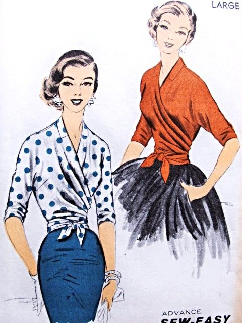 1950s Stunning Draped Surplice WRAP Around Blouse Pattern ADVANCE 7701 Glamorous Day or Evening Bust 36-38 Sew Easy Vintage Sewing Pattern FACTORY FOLDED