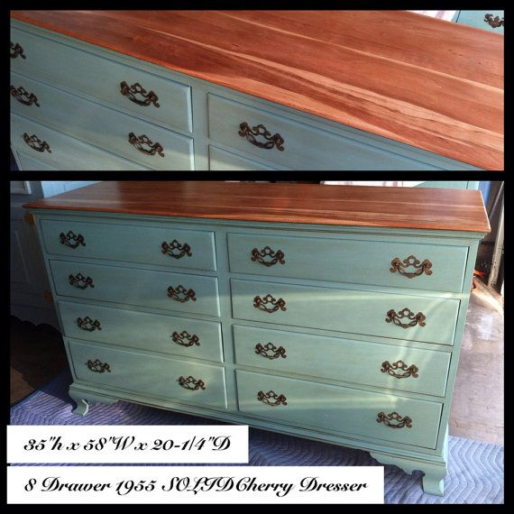 upcycled cherry wood dresser aqua baby blue ascp provence on etsy