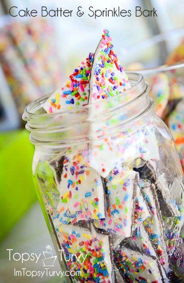 Cake Batter & Sprinkles Bark- colorful treat for Easter.