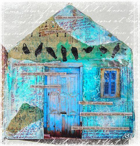 Dans ma maison il y a... une chanson | by Anne, Bulles dorées   Anne le Toux collage