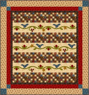 Folk Art Strippy quilt Free Pattern Download designed by Martha Walker of Wagons West Designs ...