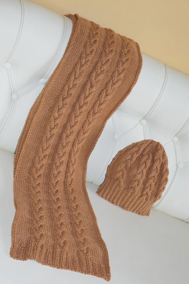 Perle di Mary Carmen: Sciarpa e cappello coordinati a maglia a trecce di lana e cashmere