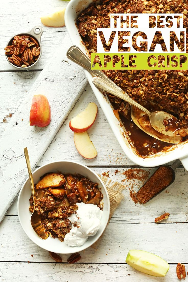 The Absolute BEST VEGAN Apple Crisp! 1 Bowl and NATURALLY SWEETENED! Tender, caramelized, SO crispy. Great recipe for holiday dessert!