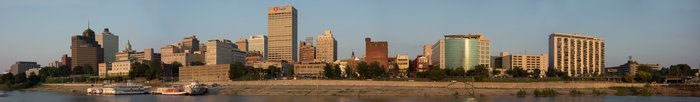 Memphis in High Definition by Isaac Singleton on Capture Memphis // The wide panaroma of Memphis' Skyline was taken from Mud Island on a sunny, pretty day.  This shot is comprised of six photos stitched together.