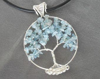 Árbol de la vida árbol colgante aguamarina collar collar aguamarina joyas árbol raíces alambre envuelto envoltura de alambre collar árbol