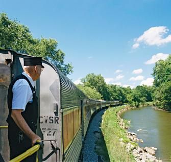 The Cuyahoga Valley Scenic Railroad showcases the scenery between Cleveland and Akron. Two-day itinerary:   http://www.midwestliving.com/travel/ohio/cuyahoga-valley-scenic-railroad-two-day-itinerary/