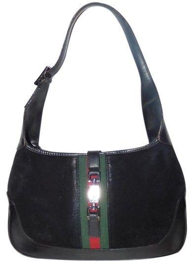 17ef99d345e5 Gucci Jackie O Chrome Hardware Suede/Leather Red/Green Excellent Vintage  Hobo Bag