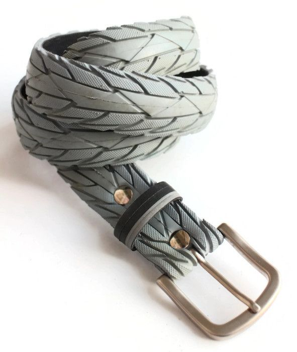 Upcycled grey textured tyre belt by Laura Zabo