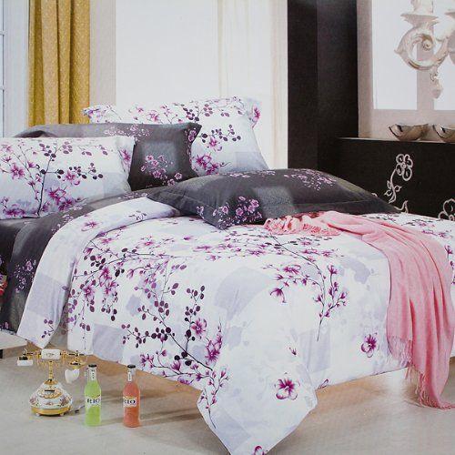 Blancho Bedding - [Plum in Snow] 100% Cotton 4PC Duvet Cover/Duvet Cover Combo (UK Double Size)/ (US Full Size) Blancho http://www.amazon.co.uk/dp/B00DTM2JCI/ref=cm_sw_r_pi_dp_LBLAub1MYRGZQ