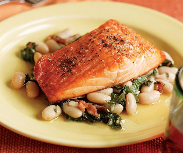 Salmon w /White Bean, Kale, & Bacon Ragout - From Fine Cooking - also excellent with Chicken