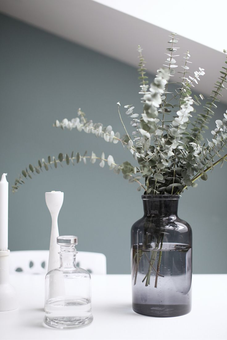 White green gray freemover.se white Rolf™ candlestick and Eucalyptus. @designlykke