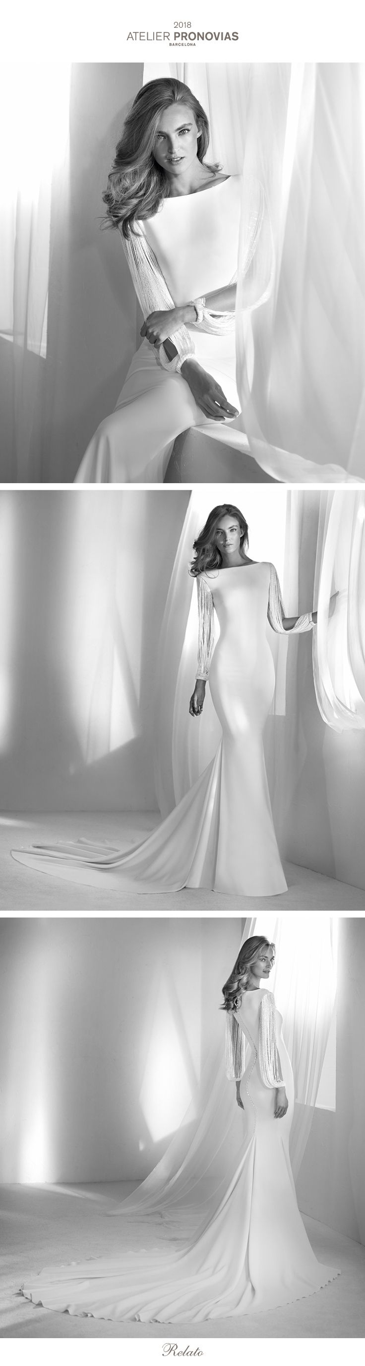 The details make all the difference. This elegant mermaid wedding dress with a bateau neckline demonstrates this with its unique long fringe sleeves. A special detail that makes this dress a one-of-a-kind piece. Plus, the crepe is combined with the beading, adding sparkle and very delicate gleams of light.