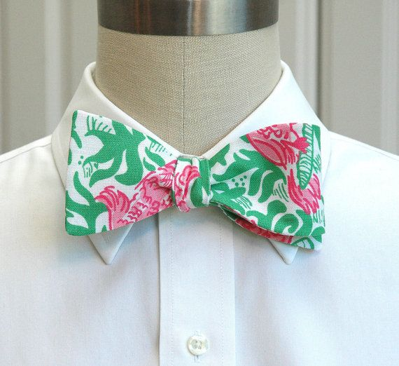 Men's Bow Tie in pink and green Lilly Cockatiel Cutie by CCADesign, $33.00