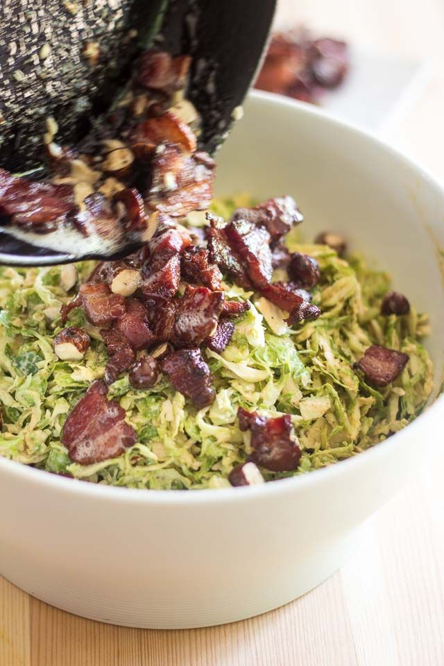 Adding Hazelnuts and Bacon to the Salad   thehealthyfoodie.com