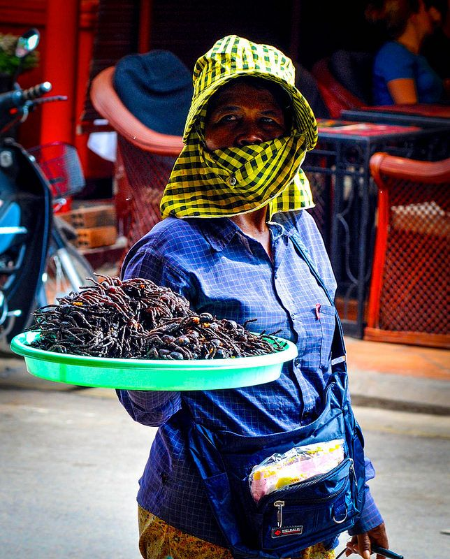 Roasted spiders for the culinary adventurer. Seim Reap, Cambodia